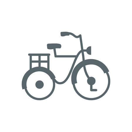 classic bike with basket design, Vehicle bicycle cycle healthy lifestyle sport and leisure theme Vector illustration