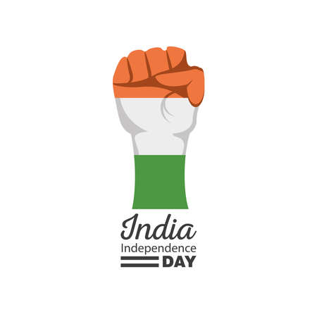 fist detailed style icon design, happy india independence day and august 15th theme Vector illustration