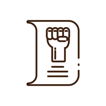 paper with hand with fist up icon over white background, line style, vector illustration design Foto de archivo - 150436403