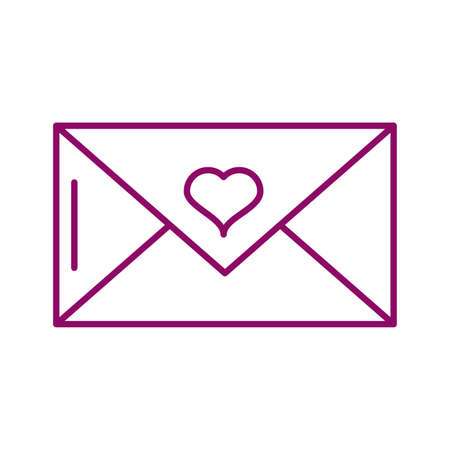 envelope closed with a heart, line style icon vector illustration design