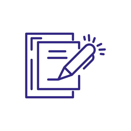 document page and pen over white background, line detail style, vector illustration