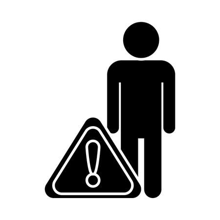 person with warning sign , silhouette style icon vector illustration design