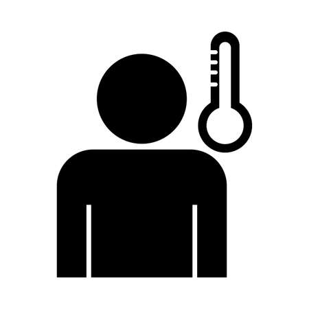 profile human with fever and thermometer , silhouette style icon vector illustration design Vettoriali