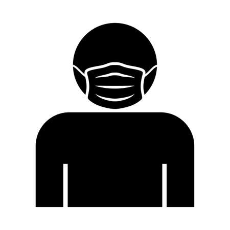 man in a protective mask , silhouette style icon vector illustration design