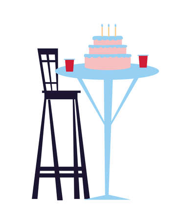 table with birthday cake and candles vector illustration desing