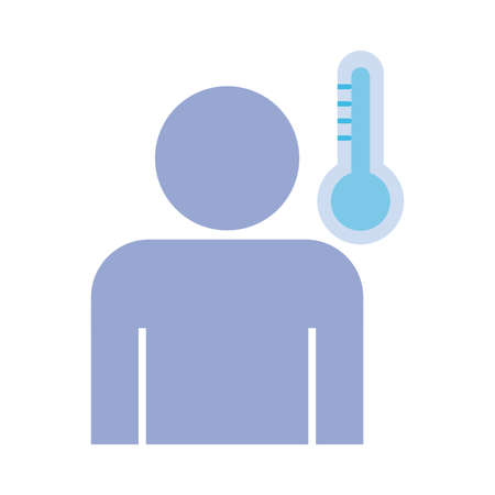 profile human with fever and thermometer , flat style icon vector illustration design