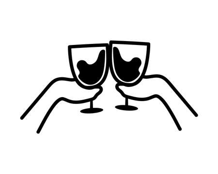 Hands holding wine cups design of Winery alcohol drink beverage restaurant celebration and party theme Vector illustration