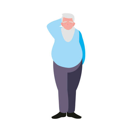 elderly man wearing stylish clothes vector illustration design
