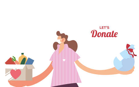 woman with mask and food to donation vector illustration desing