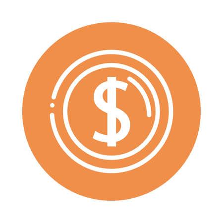 dollar circular notice block and flat style icon vector illustration design Ilustração