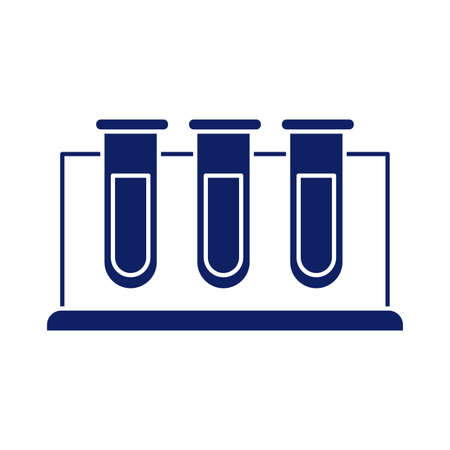 chemical laboratory test tubes, silhouette style icon vector illustration design