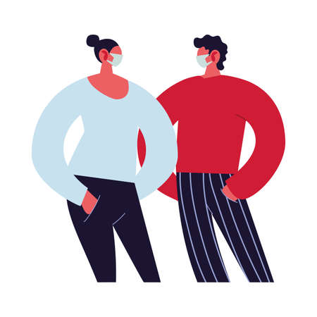 young couple using face masks vector illustration design