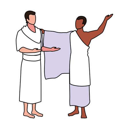 men pilgrim hajj on white background vector illustration design Illustration