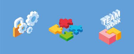 set of icons business idea, teamwork vector illustration design