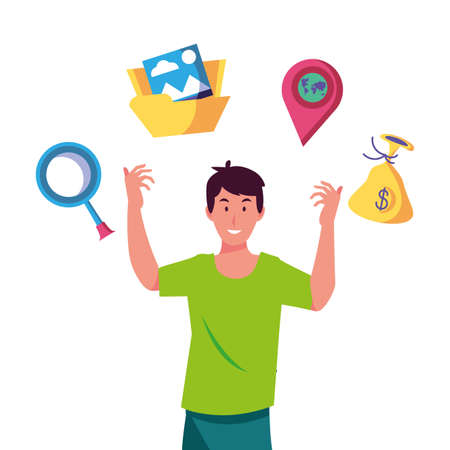 Man looking for business on white background vector illustration design