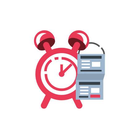 alarm clock with document vector illustration design