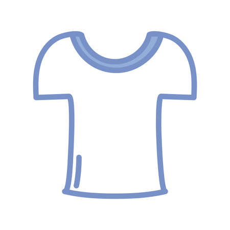 tshirt icon over white background, blue outline style, vector illustration