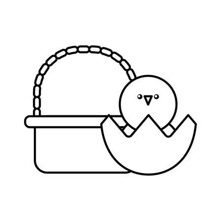 chick in basket on white background vector illustration design Ilustrace