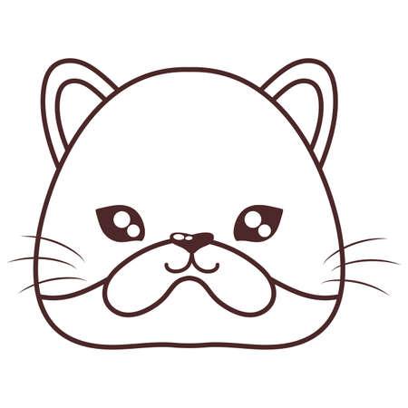 head of cute cat , line style icon, domestic vector illustration design