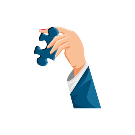 hand with puzzle piece isolated icon vector illustration design Archivio Fotografico - 150559250