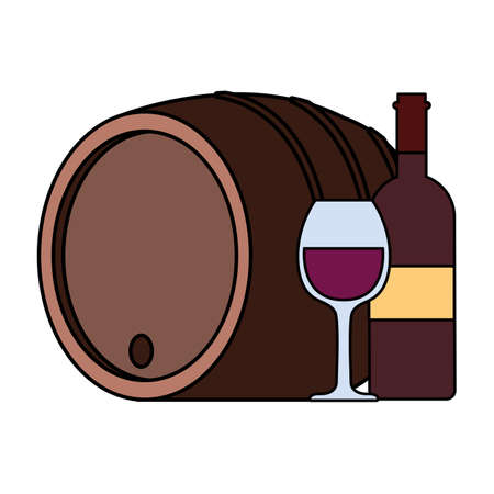 bottle and glass of wine with barrel on white background vector illustration design