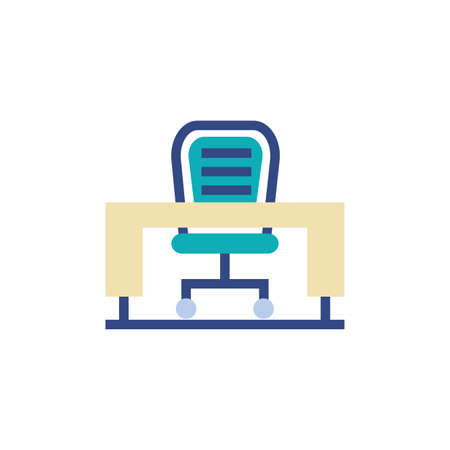 Chair and desk design, Office object workforce corporate job work occupation and communication theme Vector illustration