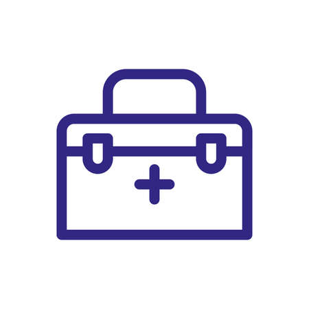 first aid kit icon over white background, thick line style, vector illustration