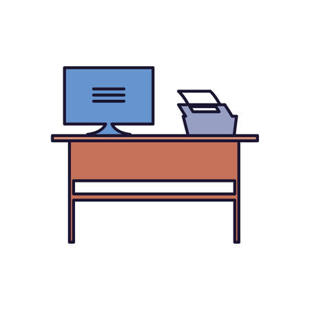 workspace with office furniture on white background vector illustration design