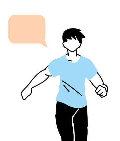 man avatar running with communication bubble design, Marathon athlete training and fitness theme Vector illustration  イラスト・ベクター素材