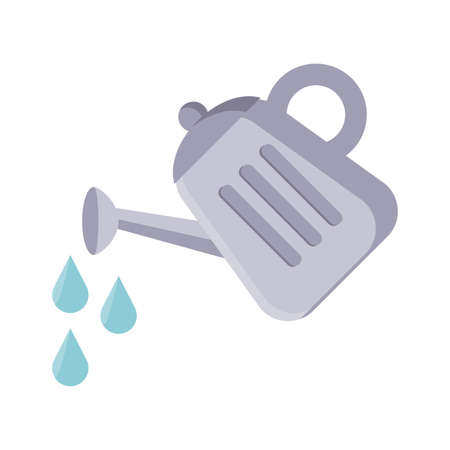 watering can and drops icon over white background, flat detail style, vector illustration