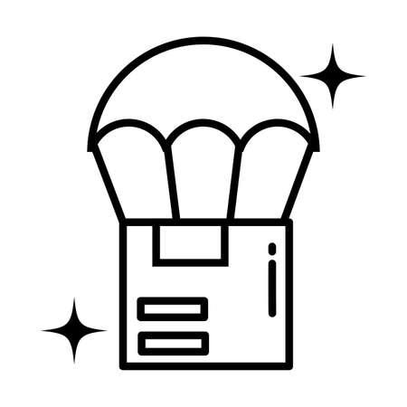 cardboard box with parachute , line style icon vector illustration design 일러스트