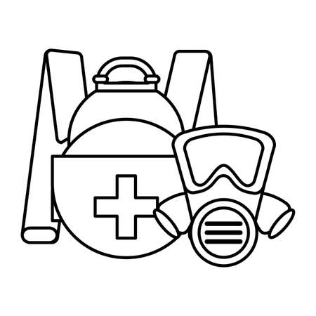 briefcase with safety mask on white background vector illustration design Stock fotó - 150562514