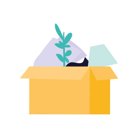 cardboard box with office supplies on white background