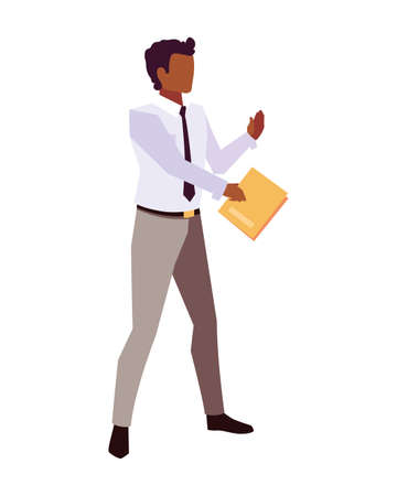 businessman with book in hand on white background vector illustration design