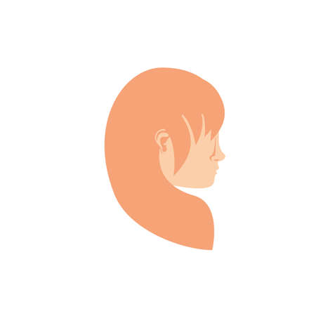 female head icon design, Human body person people health anatomy biology and science theme Vector illustration Ilustração