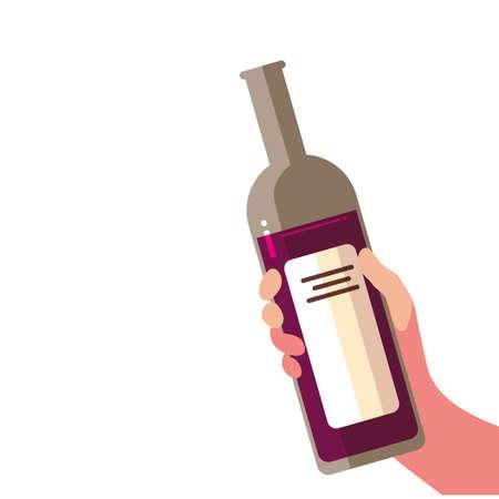 hand holding a bottle wine on white background vector illustration design