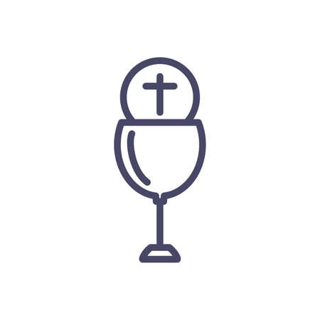 catholic communion wine glass over white background, line style, vector illustration Çizim