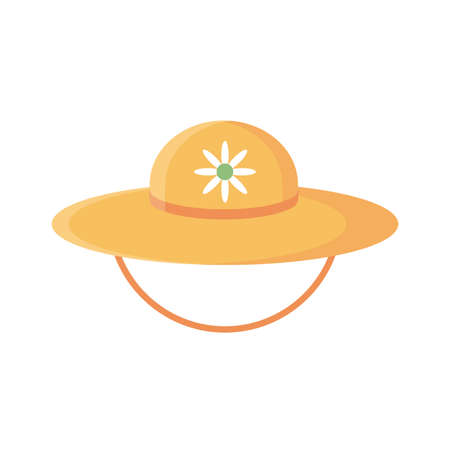 gardening hat with flower icon over white background, flat detail style, vector illustration Vectores
