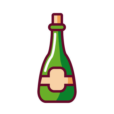 champagne bottle icon over white background, fill style, vector illustration