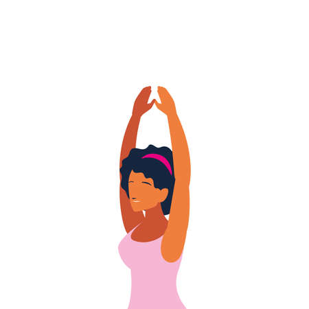 woman doing dance exercises at home vector illustration design  イラスト・ベクター素材