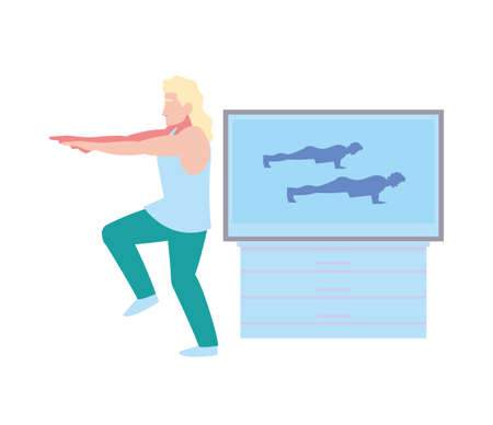man doing guided exercises on television vector illustration design