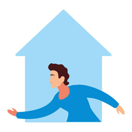 man doing stretching exercises at home vector illustration design  イラスト・ベクター素材