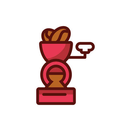 Coffee grinder design of time drink breakfast beverage shop morning store aroma and caffeine theme Vector illustration