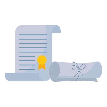 graduation certificate roll icon vector illustration design