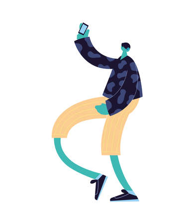 man with mask walking with objects on vector illustration design 向量圖像