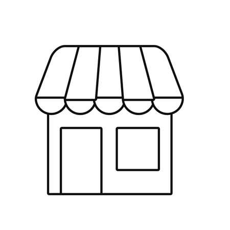 online shopping store on white background vector illustration outline Vettoriali