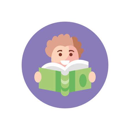 cartoon boy reading a book over white background, block style icon, vector illustration Ilustração