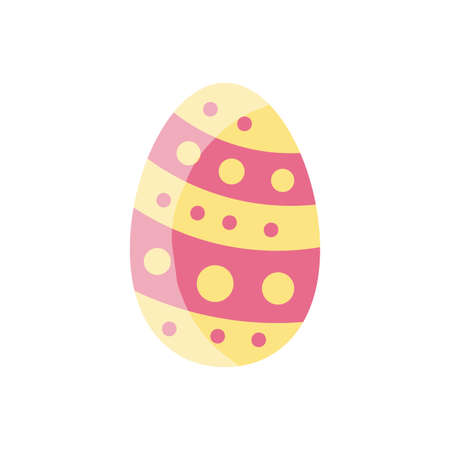 easter egg with striped and dots design over white background, flat style icon, vector illustration