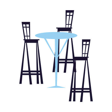 chairs and tables for restaurants and bars vector illustration design