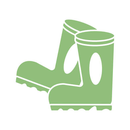 gardening boots icon over white background, silhouette style, vector illustration